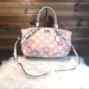 Coach Pink and White Madison Sophia Op Art Satchel